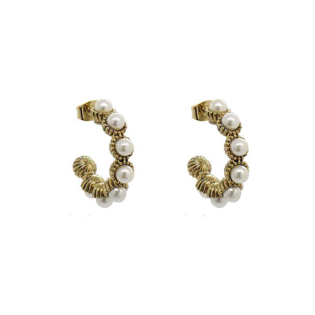 RISA SINGLE PEARL HOOP EARRINGS