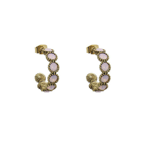 RISA SINGLE PINK CRYSTAL HOOP EARRINGS