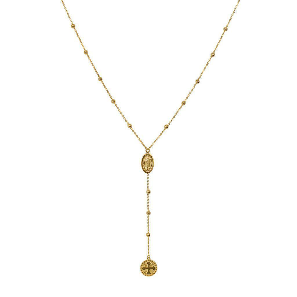ROSARY BEADS GOLD PLAIN NECKLACE