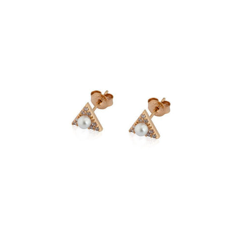 ROSI TRIANGLE ROSE GOLD/PEARL STUD EARRINGS-Earrings-MEZI