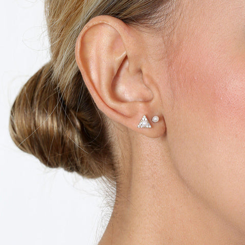 ROSI TRIANGLE SILVER/PEARL STUD EARRINGS-Earrings-MEZI