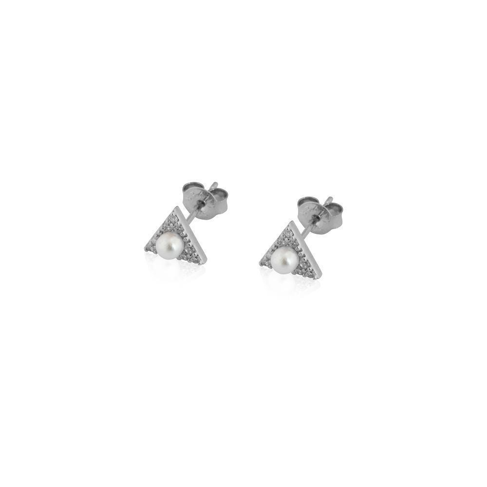 ROSI TRIANGLE SILVER/PEARL STUD EARRINGS