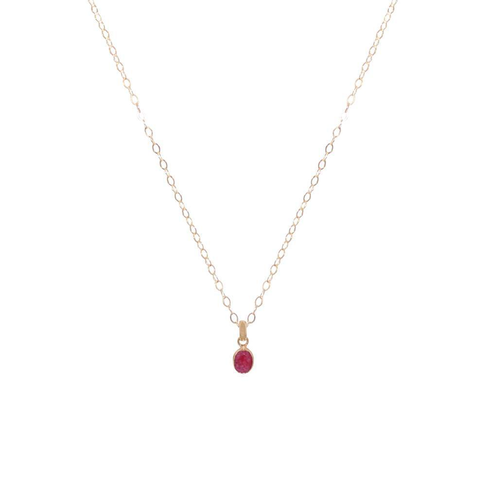 ROUGH RUBY GOLD FILLED SMALL PENDANT-Necklaces-MEZI