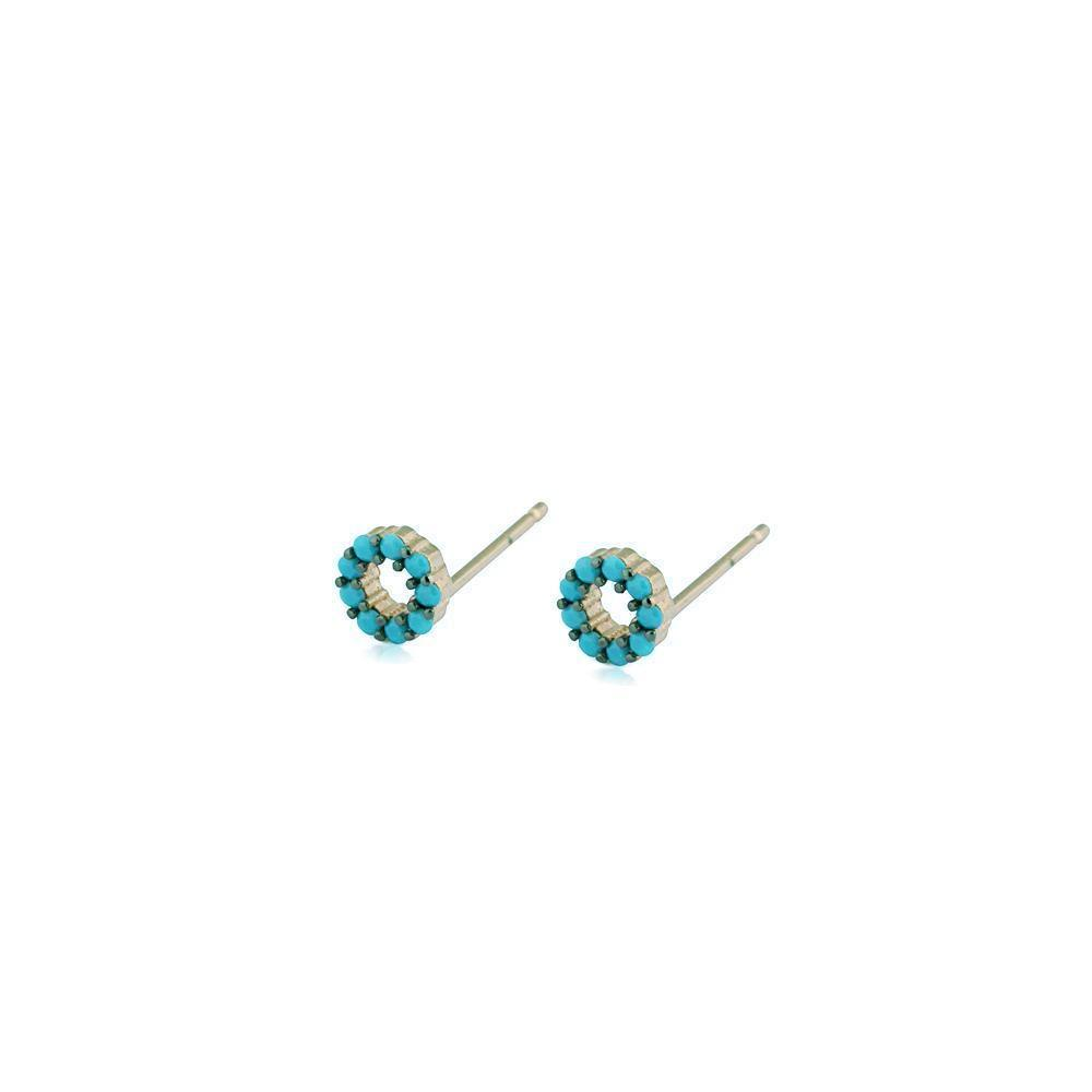 ROUND TURQUOISE & SILVER STUD EARRINGS-Earrings-MEZI