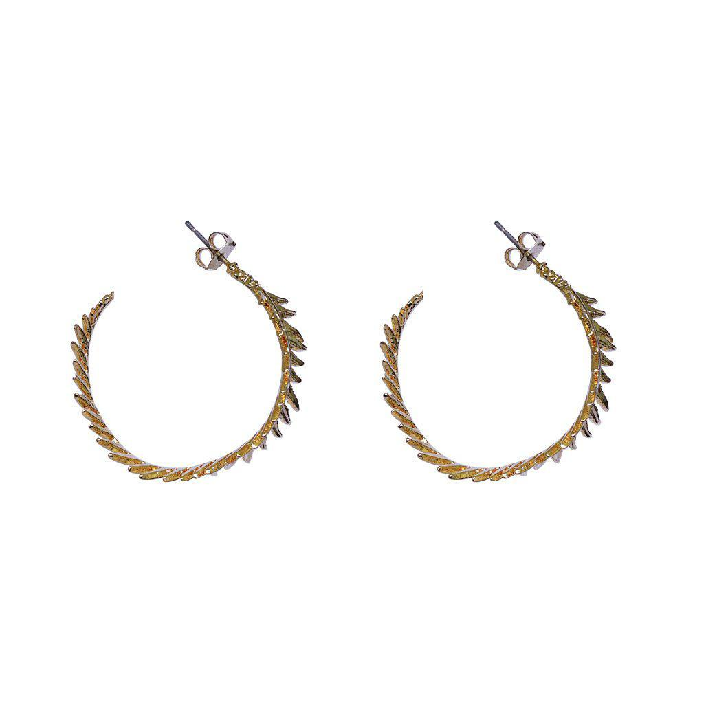 ROWAN LEAF GOLD HOOP EARRINGS