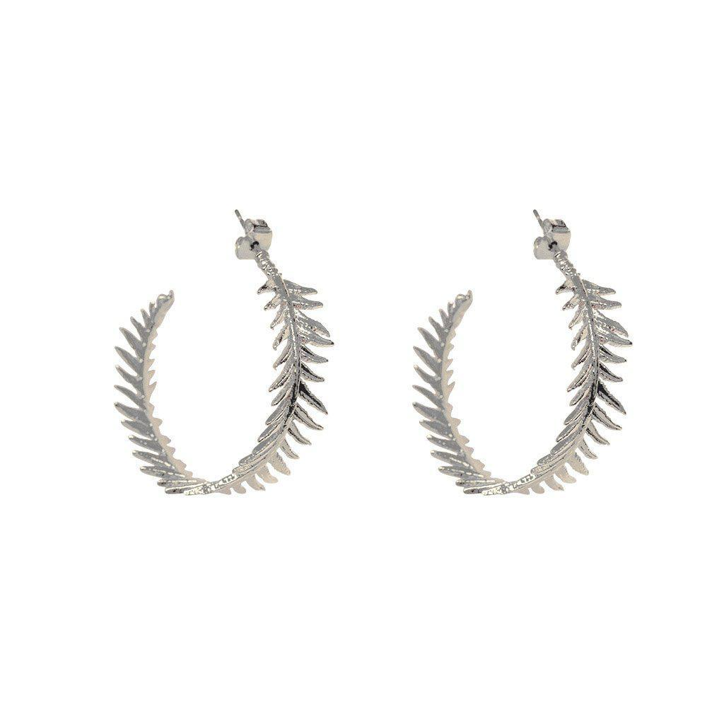 ROWAN LEAF SILVER HOOP EARRINGS