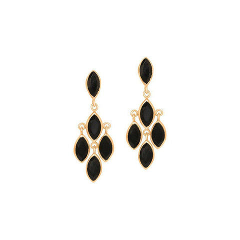 ROZ ONYX ROSE GOLD SEMI PRECIOUS EARRINGS