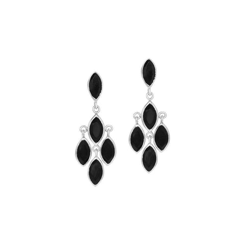 ROZ ONYX STERLING SILVER SEMI PRECIOUS EARRINGS