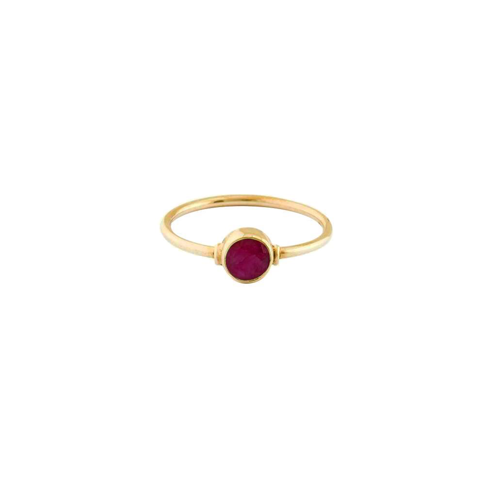ROUGH RUBY ROUND GOLD FILLED RING