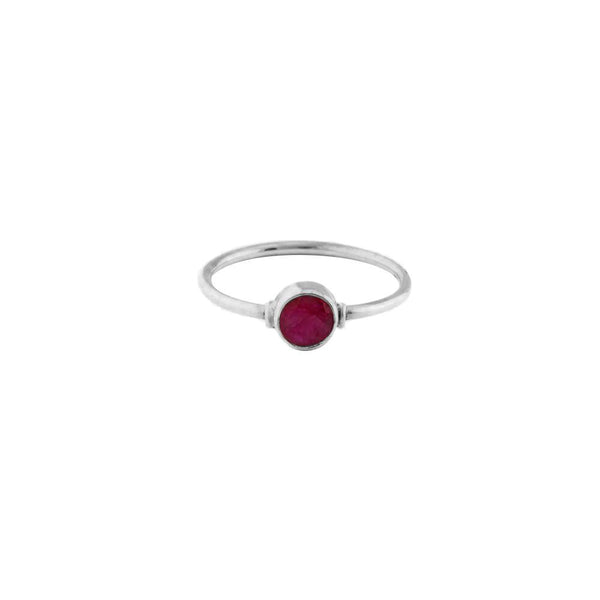 RUBY ROUND STERLING SILVER RING
