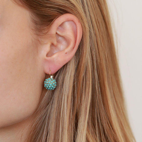 RUPA TURQUOISE CRYSTAL BALL EARRINGS