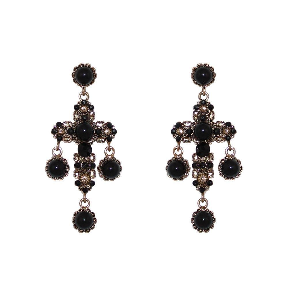 SABOS CRYSTAL & BLACK EARRINGS