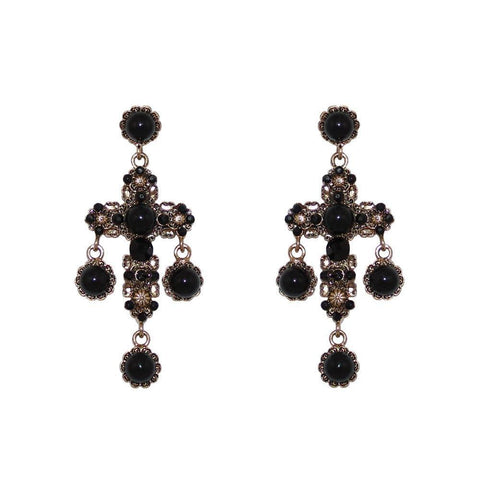 SABOS CRYSTAL & BLACK EARRINGS-Earrings-MEZI