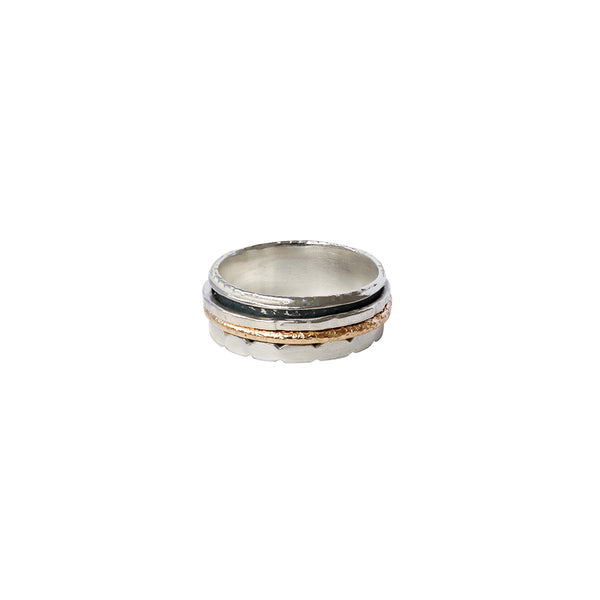 SABRI STERLING SILVER GOLD FILLED SPINNER RING