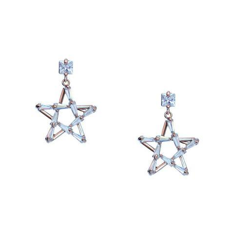 SALI HOLLOW STARS CRYSTAL GOLD DROP EARRINGS