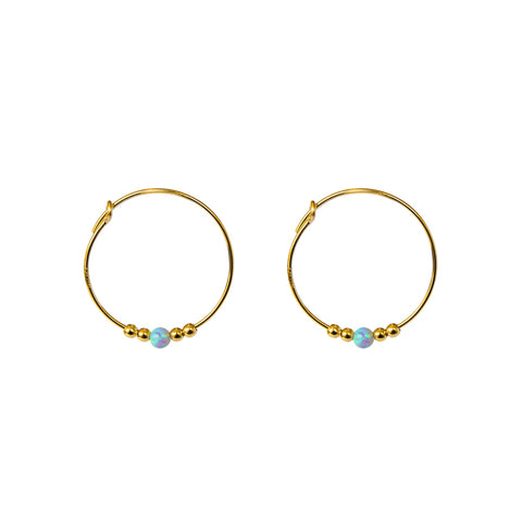 SANTANA BLUE OPALITE GOLD FILLED HOOP EARRINGS
