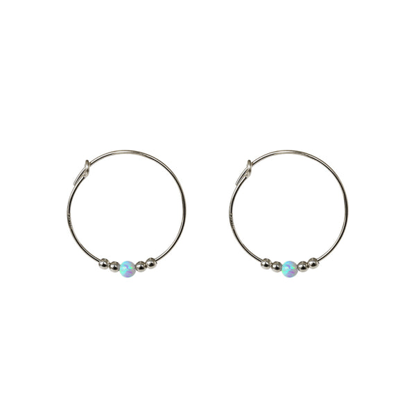 SANTANA BLUE OPALITE STERLING SILVER HOOP EARRINGS