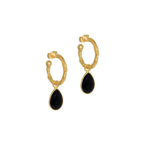 SARITA BLACK ONYX TEAR DROP HOOP EARRINGS