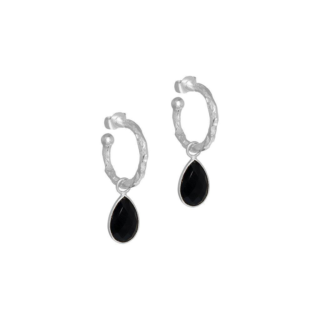 SARITA BLACK ONYX TEAR DROP SILVER HOOP EARRINGS