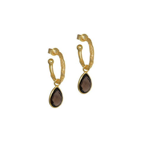SARITA SMOKEY QUARTZ TEAR DROP HOOP EARRINGS