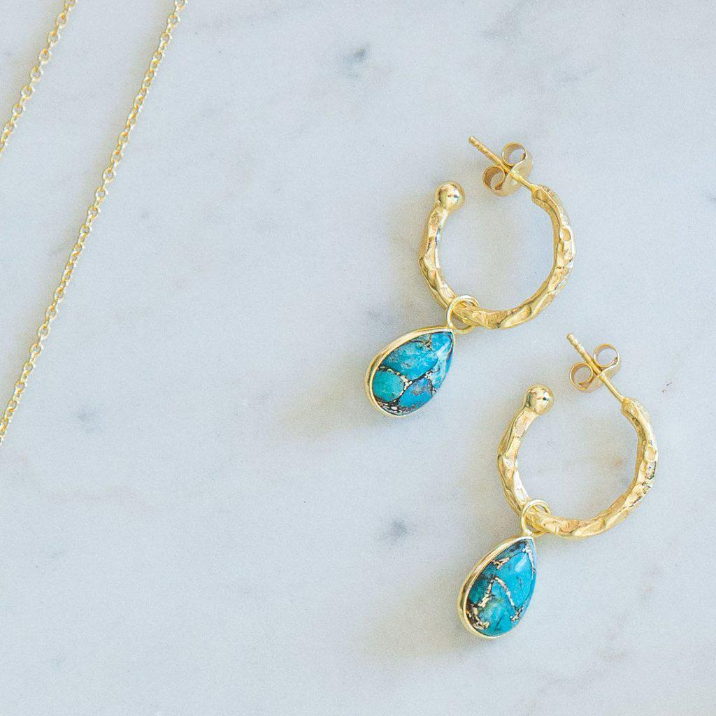 SARITA TURQUOISE TEAR DROP HOOP EARRINGS