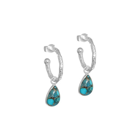 SARITA TURQUOISE TEAR DROP SILVER HOOP EARRINGS