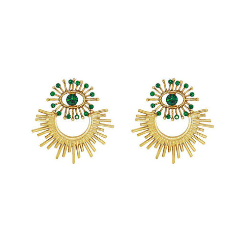 SAUIPE ANTIQUE GOLD & GREEN EARRINGS