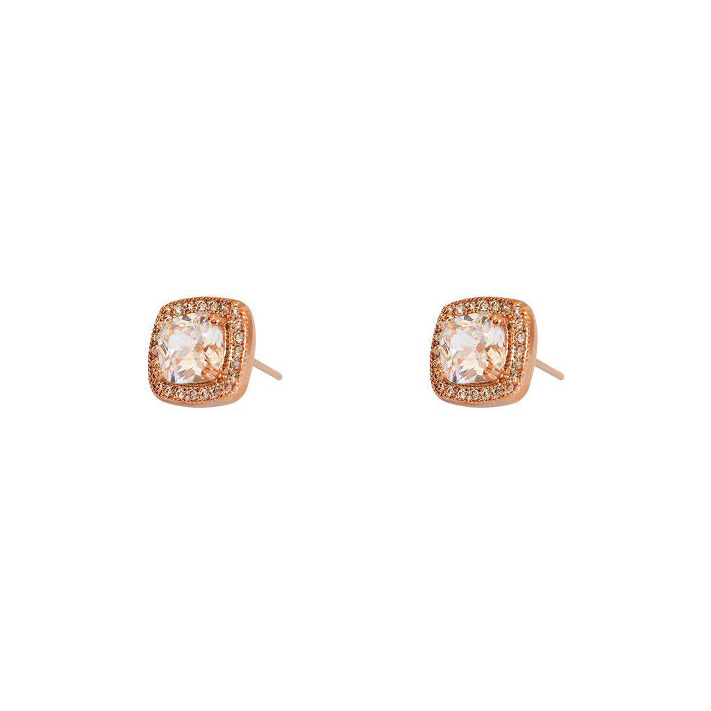 SAYA SQUARE CRYSTAL STUDS ROSE GOLD EARRINGS