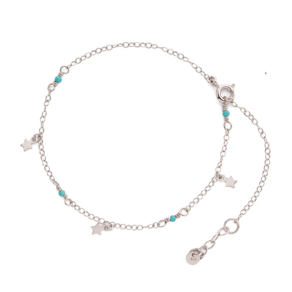 SILVER STAR & TURQUOISE ANKLET