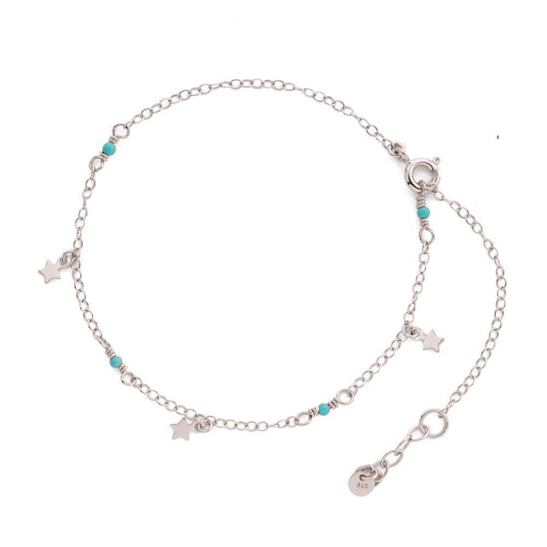 SILVER STAR & TURQUOISE ANKLET-MEZI