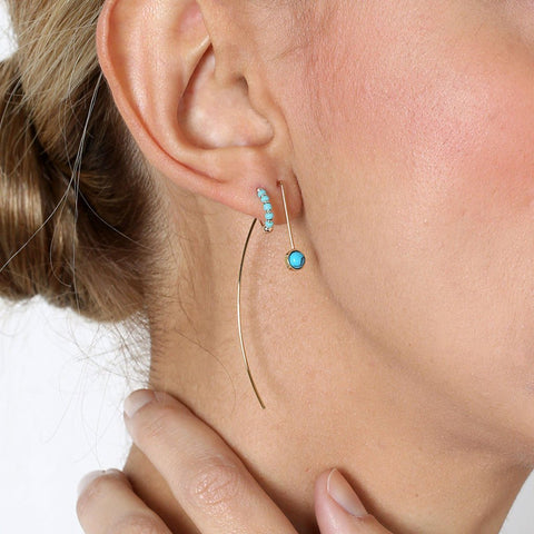 SKYLER TURQUOISE/GOLD HOOK EARRINGS-Huggies-MEZI