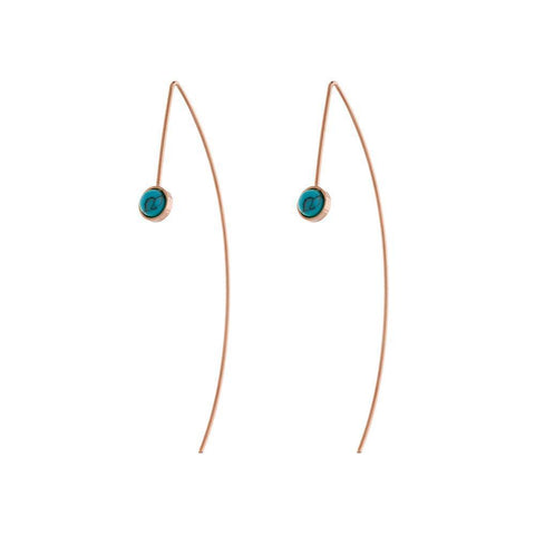 SKYLER TURQUOISE/ROSE GOLD HOOK EARRINGS-Earrings-MEZI