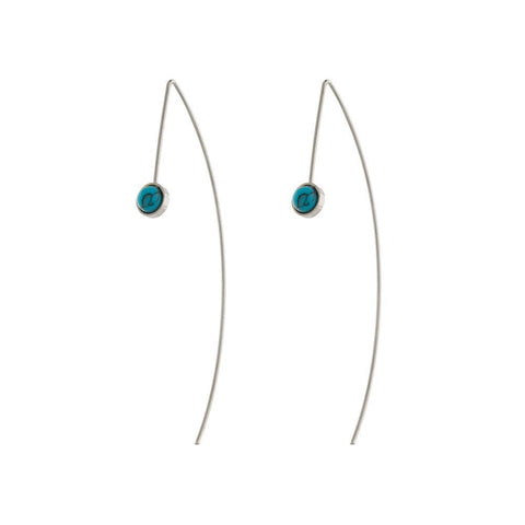 SKYLER TURQUOISE/SILVER HOOK EARRINGS-Earrings-MEZI