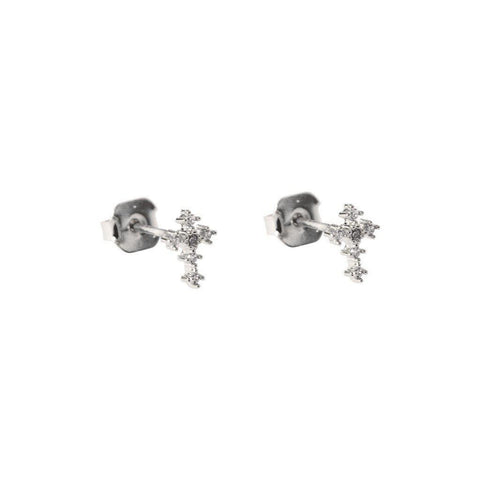 SMALL CROSS CRYSTAL SILVER STUDS
