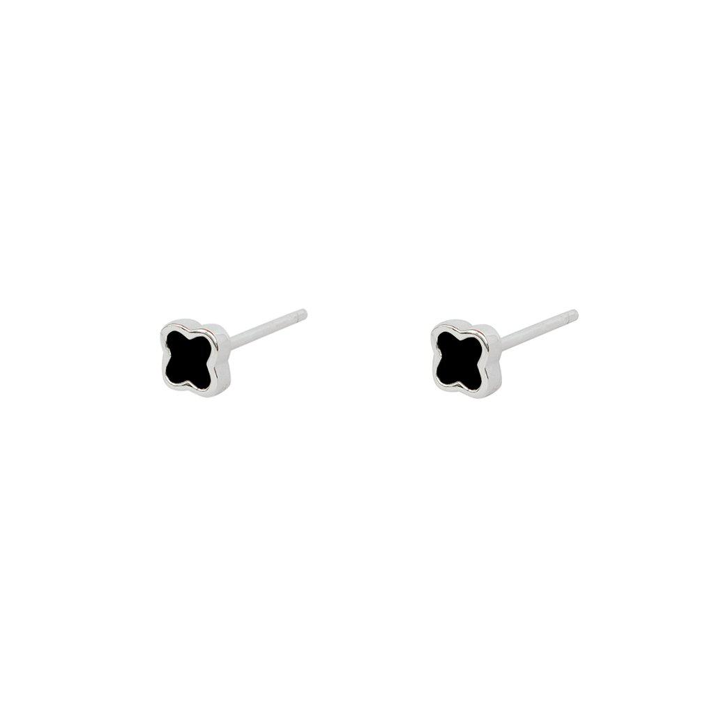 SMALL BLACK CLOVER STERLING SILVER STUD EARRINGS