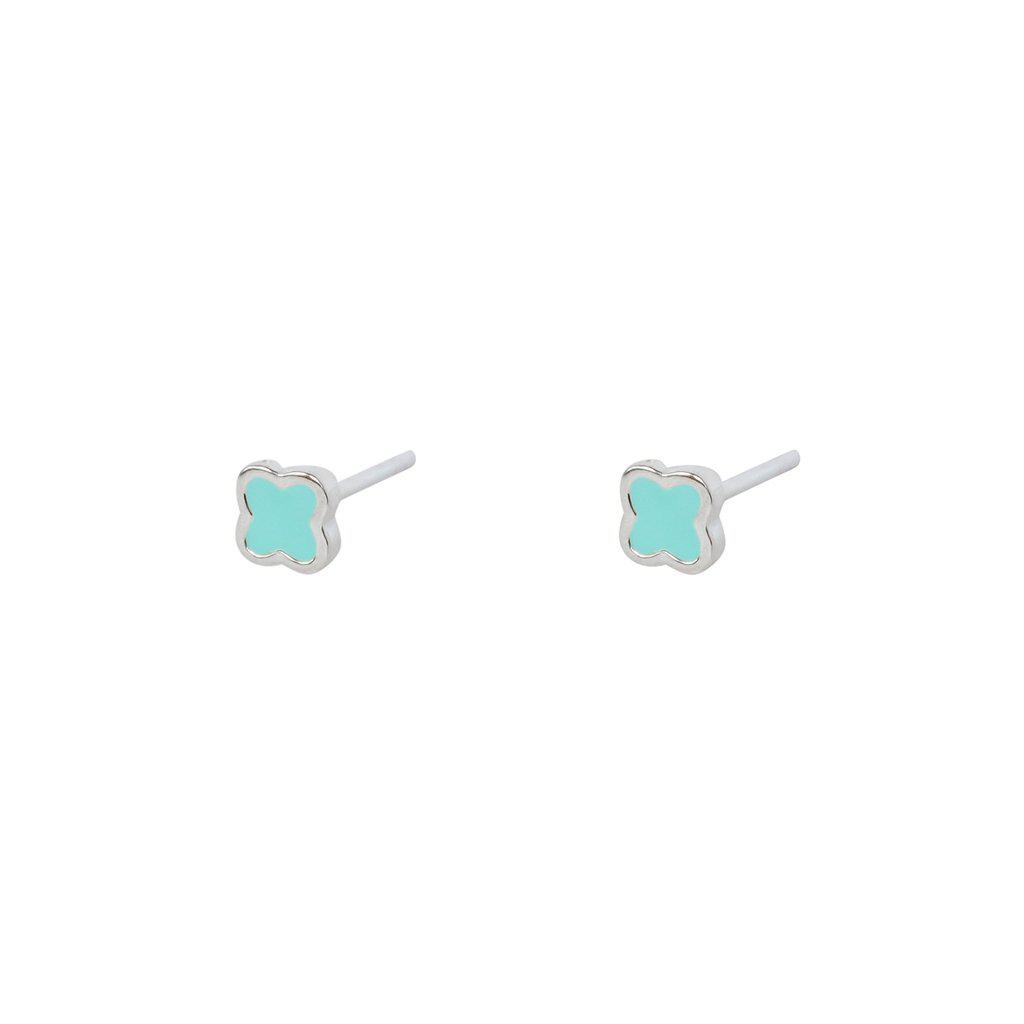 SMALL BLUE CLOVER STERLING SILVER STUD EARRINGS