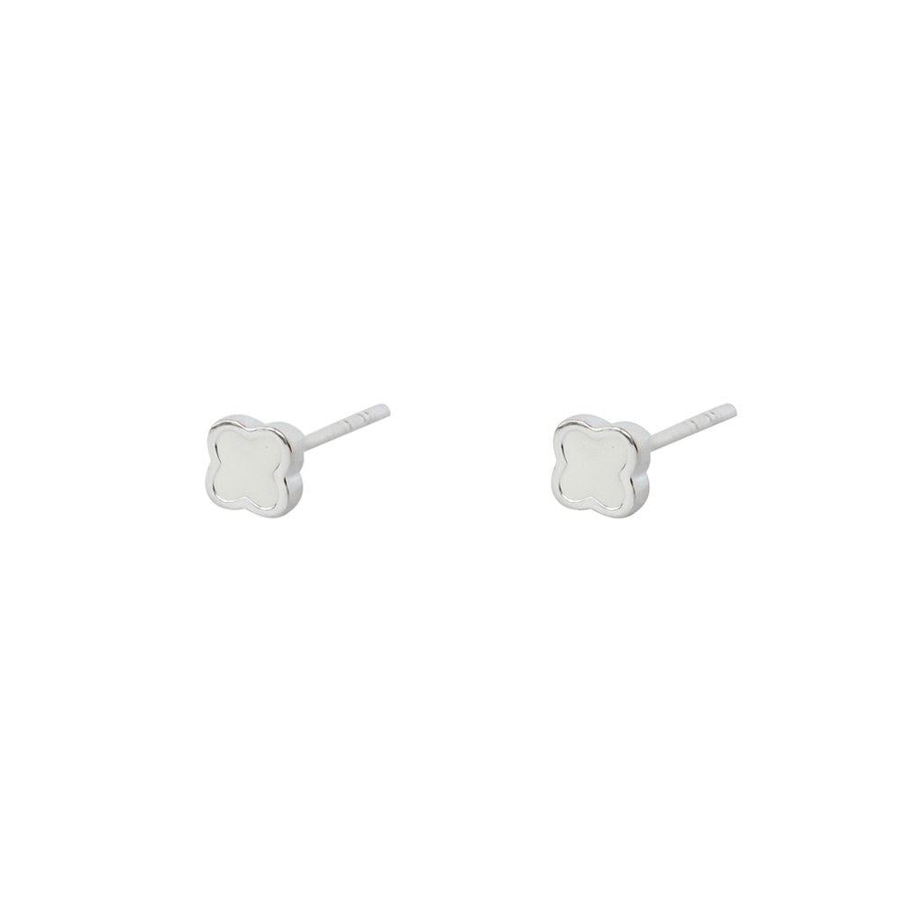 SMALL WHITE CLOVER STERLING SILVER STUD EARRINGS