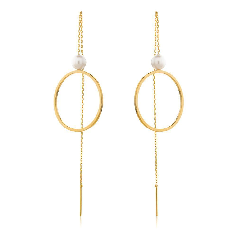SOFIA GOLD/PEARL THREAD EARRINGS