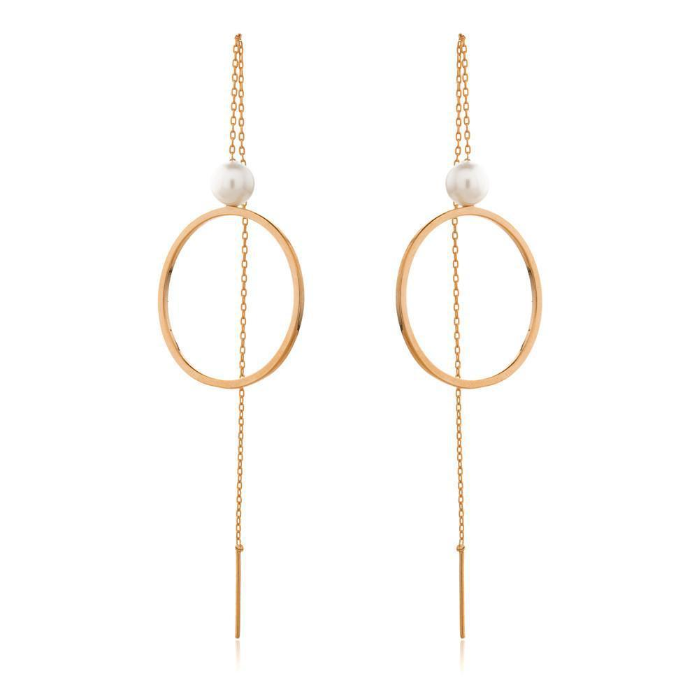 SOFIA ROSE GOLD/PEARL THREAD EARRINGS