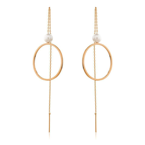 SOFIA ROSE GOLD/PEARL THREAD EARRINGS-Earrings-MEZI