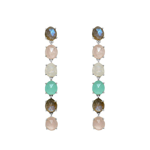 SOL SILVER SEMI PRECIOUS STONE EARRINGS