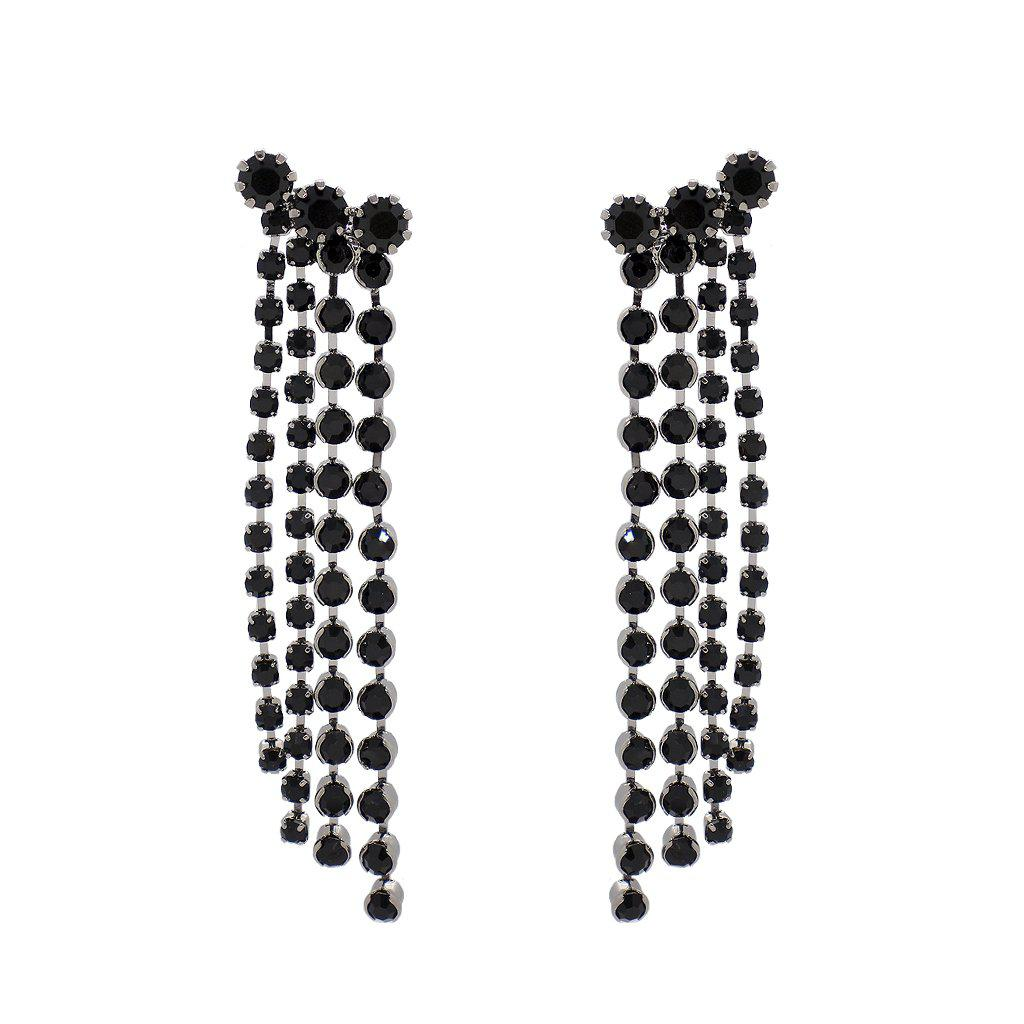 SORINO BLACK CRYSTAL TASSEL EARRINGS