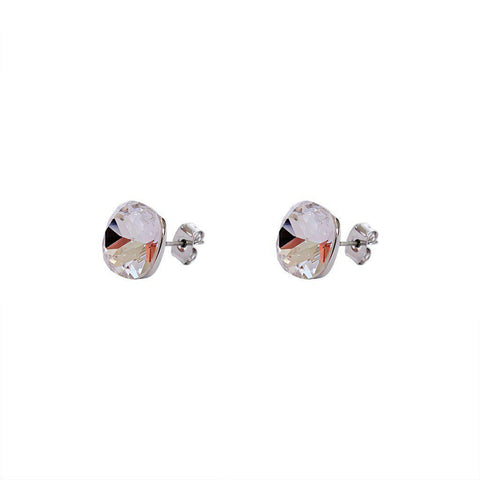SQUARE CLEAR CRYSTAL STUD EARRINGS