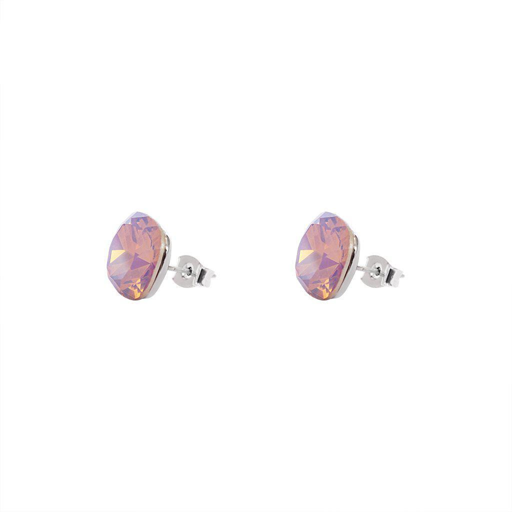 SQUARE PINK CRYSTAL STUD EARRINGS