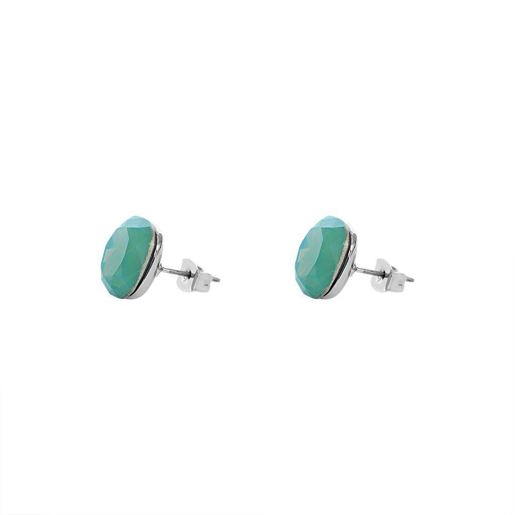 SQUARE TURQUOISE BLUE CRYSTAL STUD EARRINGS