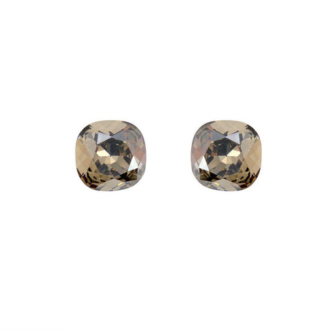 SQUARE GREY CRYSTAL STUD EARRINGS