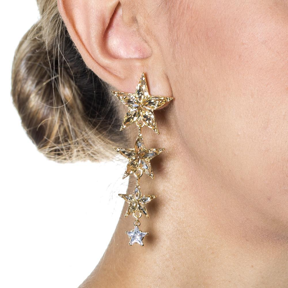STAR GOLD CRYSTAL DROP EARRINGS-Earrings-MEZI