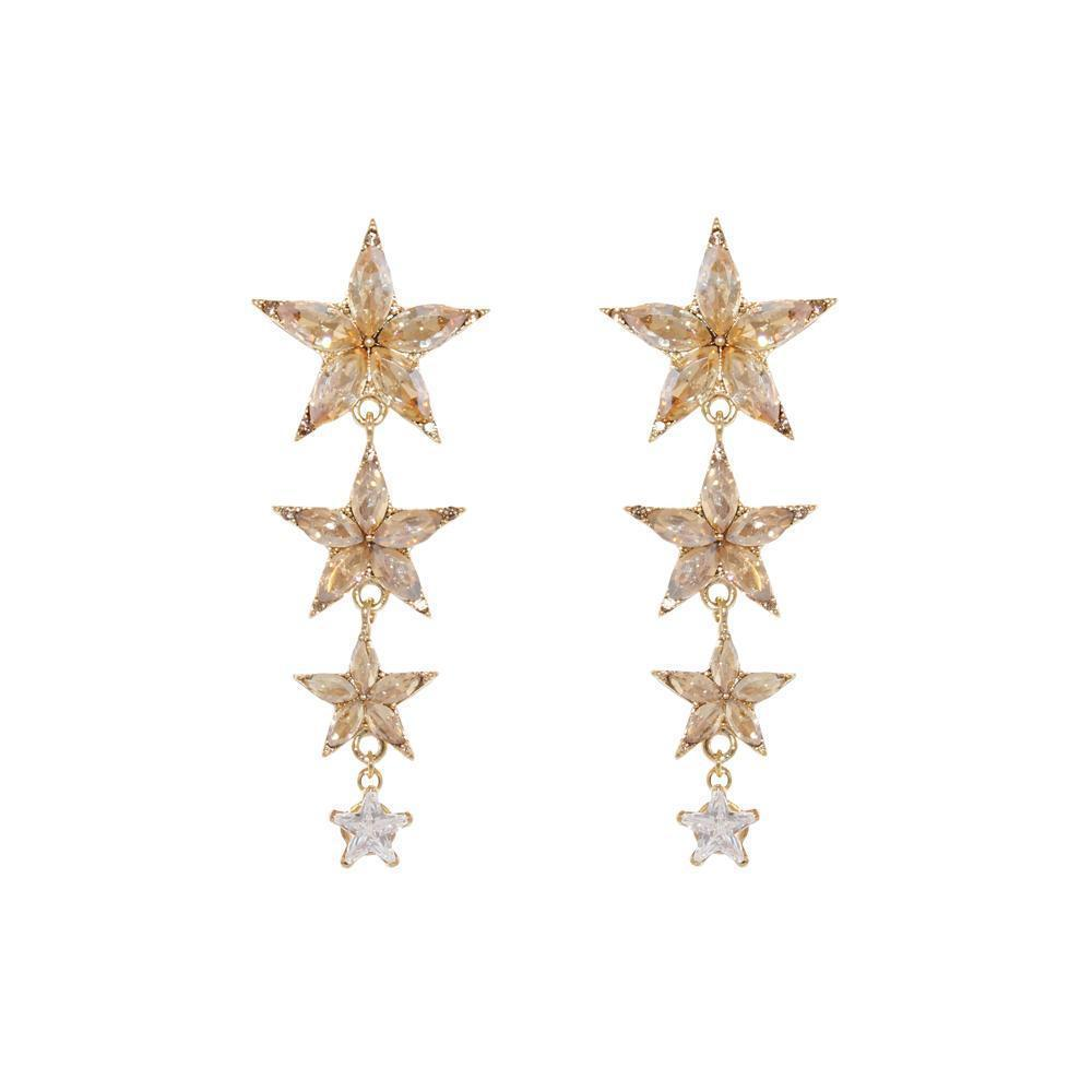 STAR GOLD CRYSTAL DROP EARRINGS