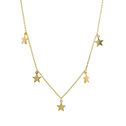 STAR GOLD PLAIN NECKLACE-Necklaces-MEZI