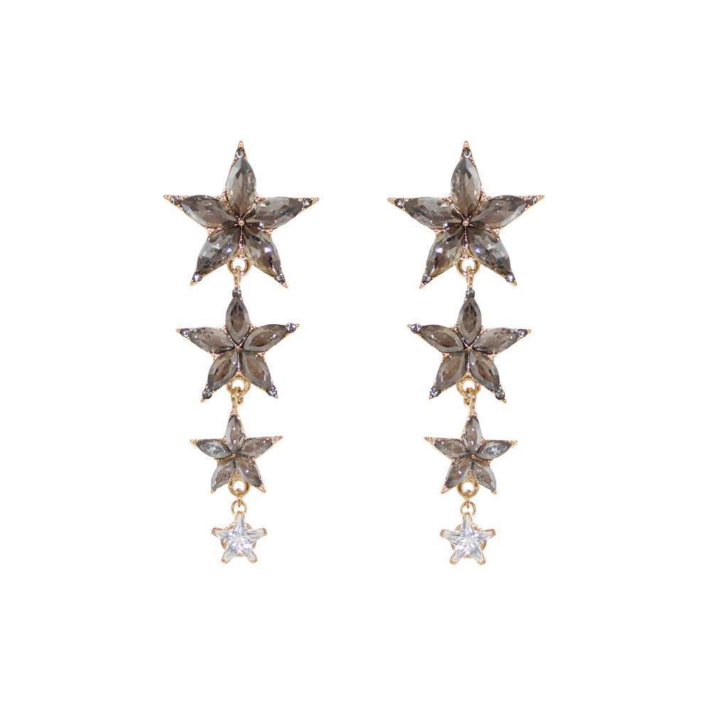 STAR GREY CRYSTAL DROP EARRINGS